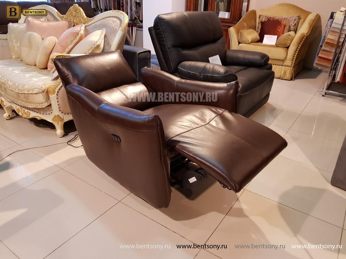 Кресло Порто цвет коричневый (Реклайнер, Натуральная кожа) магазин Москва