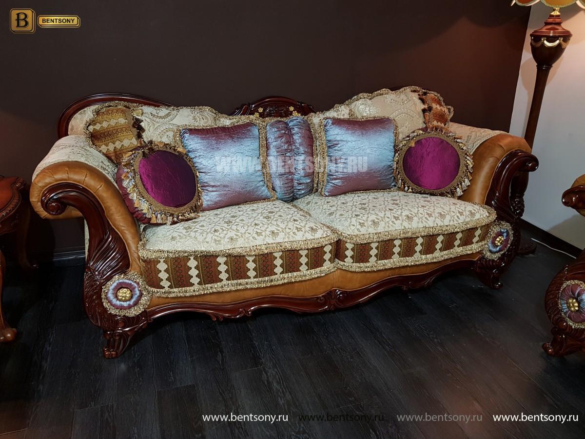 Диван Вагнер С (Классика, Ткань, подлокотники кожа) для квартиры