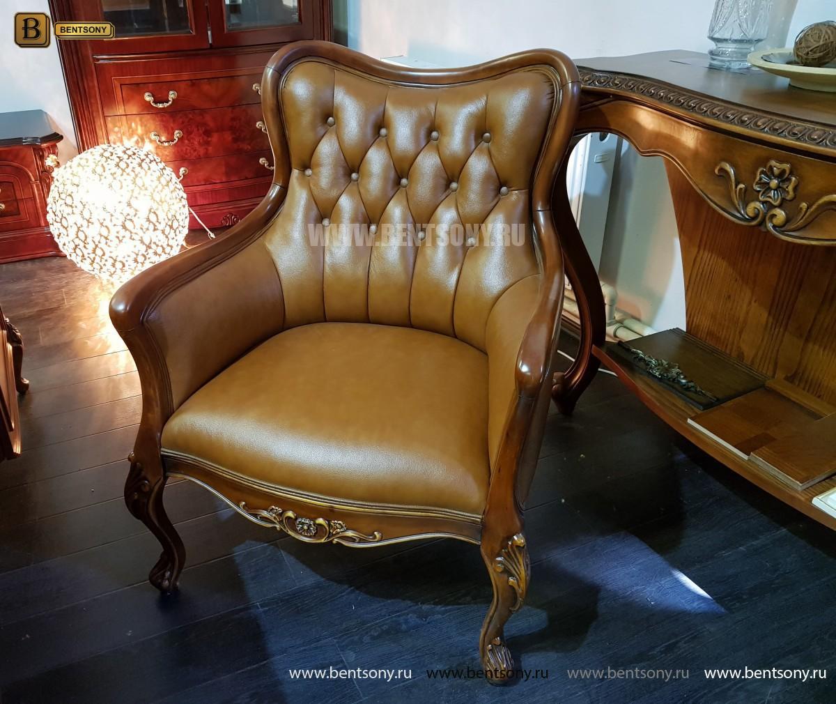 Кресло Флетчер малое (Классика, натуральная кожа) для дома