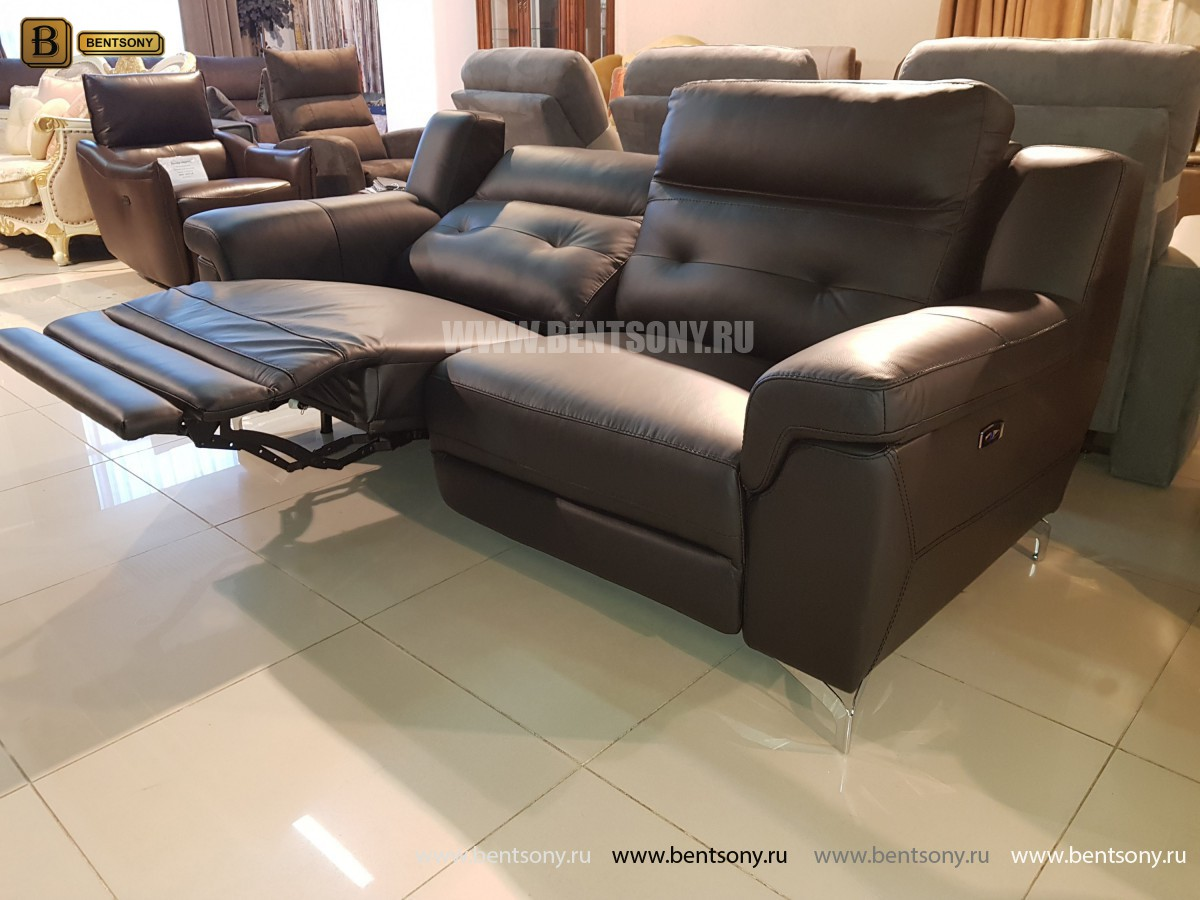 Диван Франческо прямой (Электрические реклайнеры, Натуральная Кожа) каталог мебели с ценами