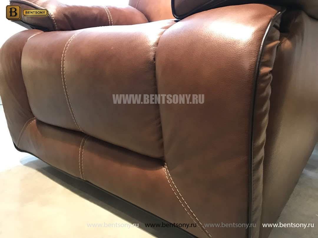 Кресло Прецо в коричневой обивке (Механизм качания, Натуральная Кожа)