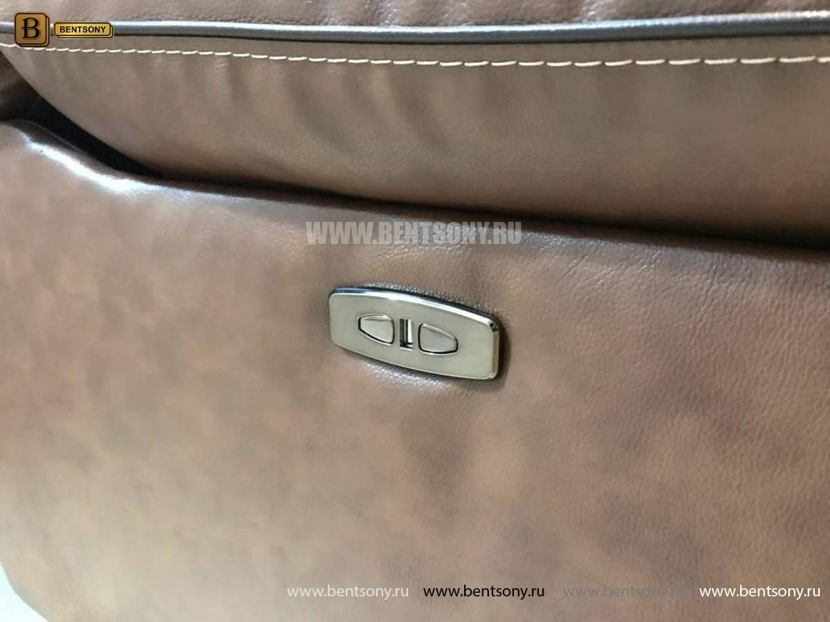 Кресло Прецо в коричневой обивке (Механизм качания, Натуральная Кожа) купить в СПб