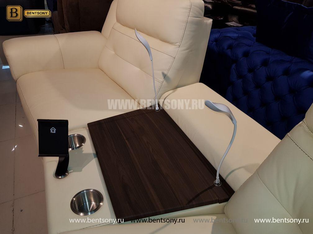 Диван Франческо светлый (Бар, Электрические реклайнеры, Натуральная Кожа) каталог мебели с ценами