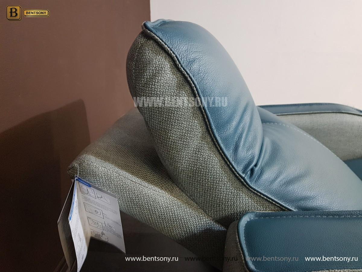 Кресло Вердэ с реклайнером (Подъемный подголовник, Натуральная Кожа) сайт цены