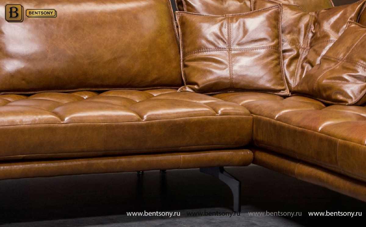 Диван Нунзио (Угловой, Натуральная кожа, Капитоне) каталог мебели с ценами