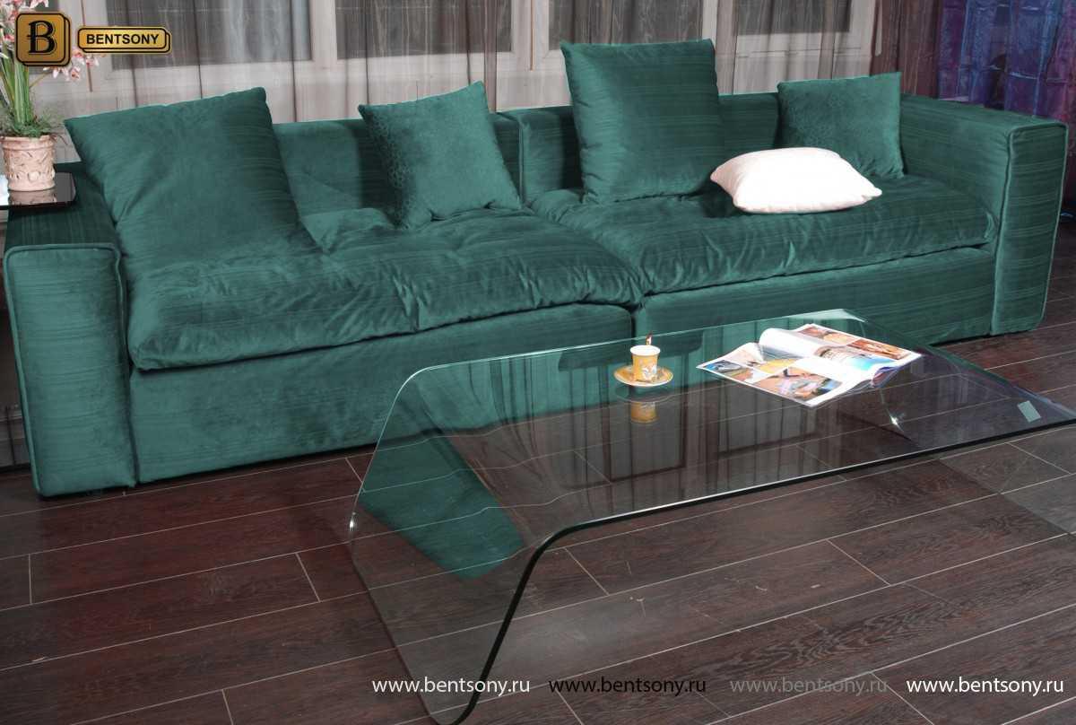 Элитный диван Бениамино в зеленом велюре