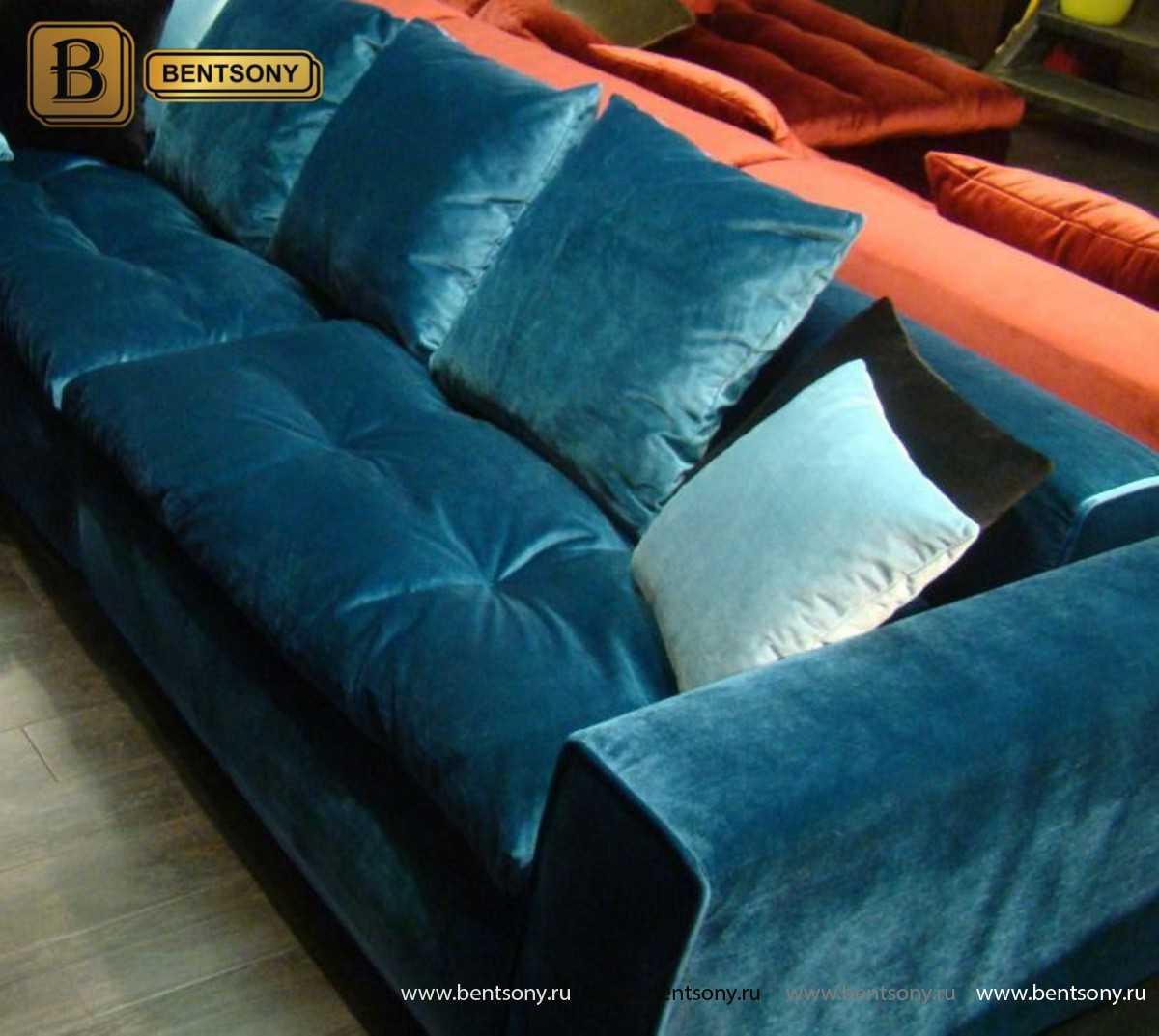 Мягкий прямой диван Бениамино цвет изумруд