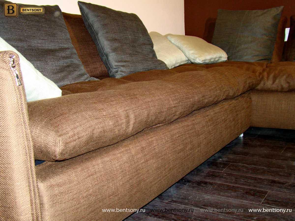 угловой диван Арлетто коричневый рогожка
