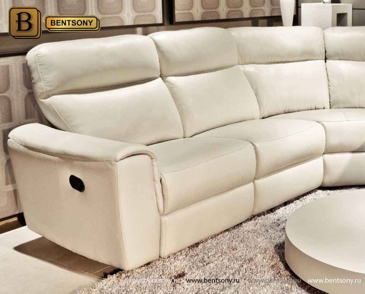 домашний диван реклайнером угловой белый Альфредо