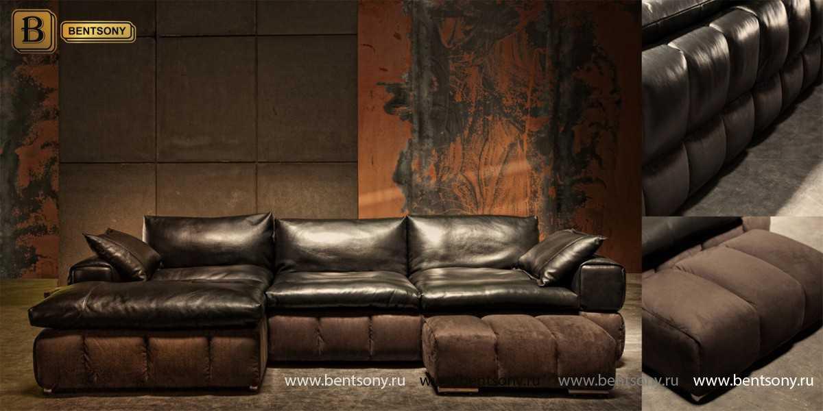 красивый коричневый кожаный диван Марчелло купить москва