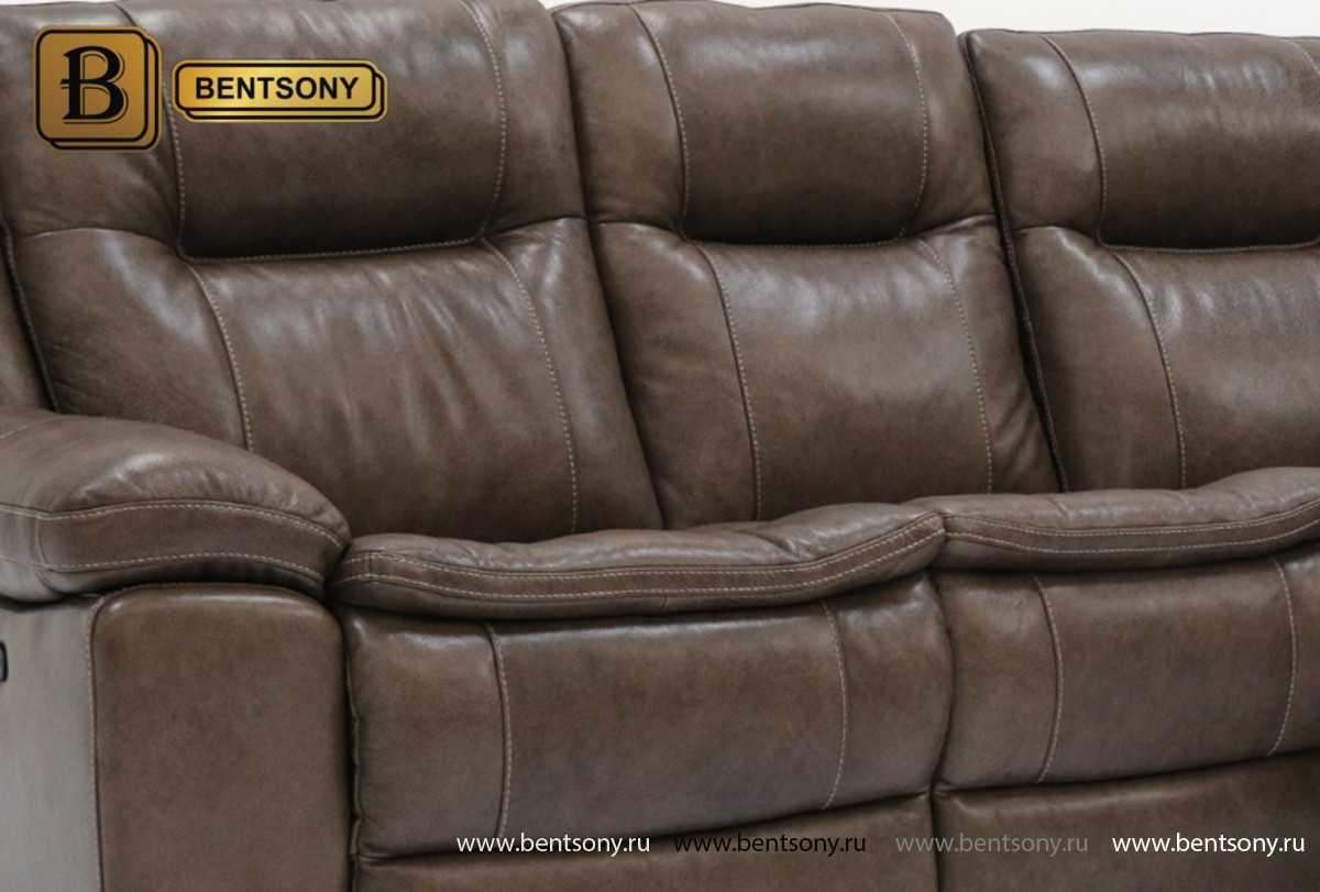 Коричневый кожаный диван Донато