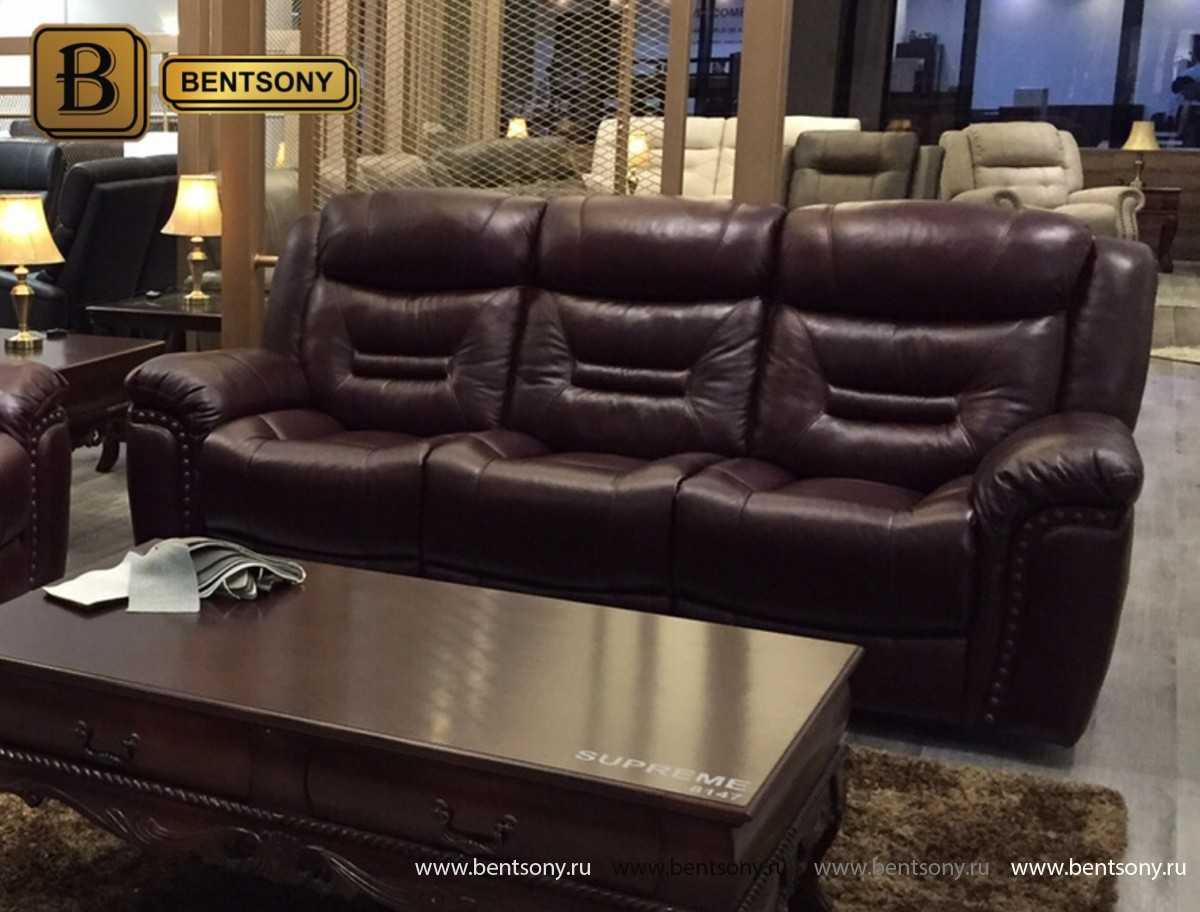 прямой кожаный диван Супреме тройной