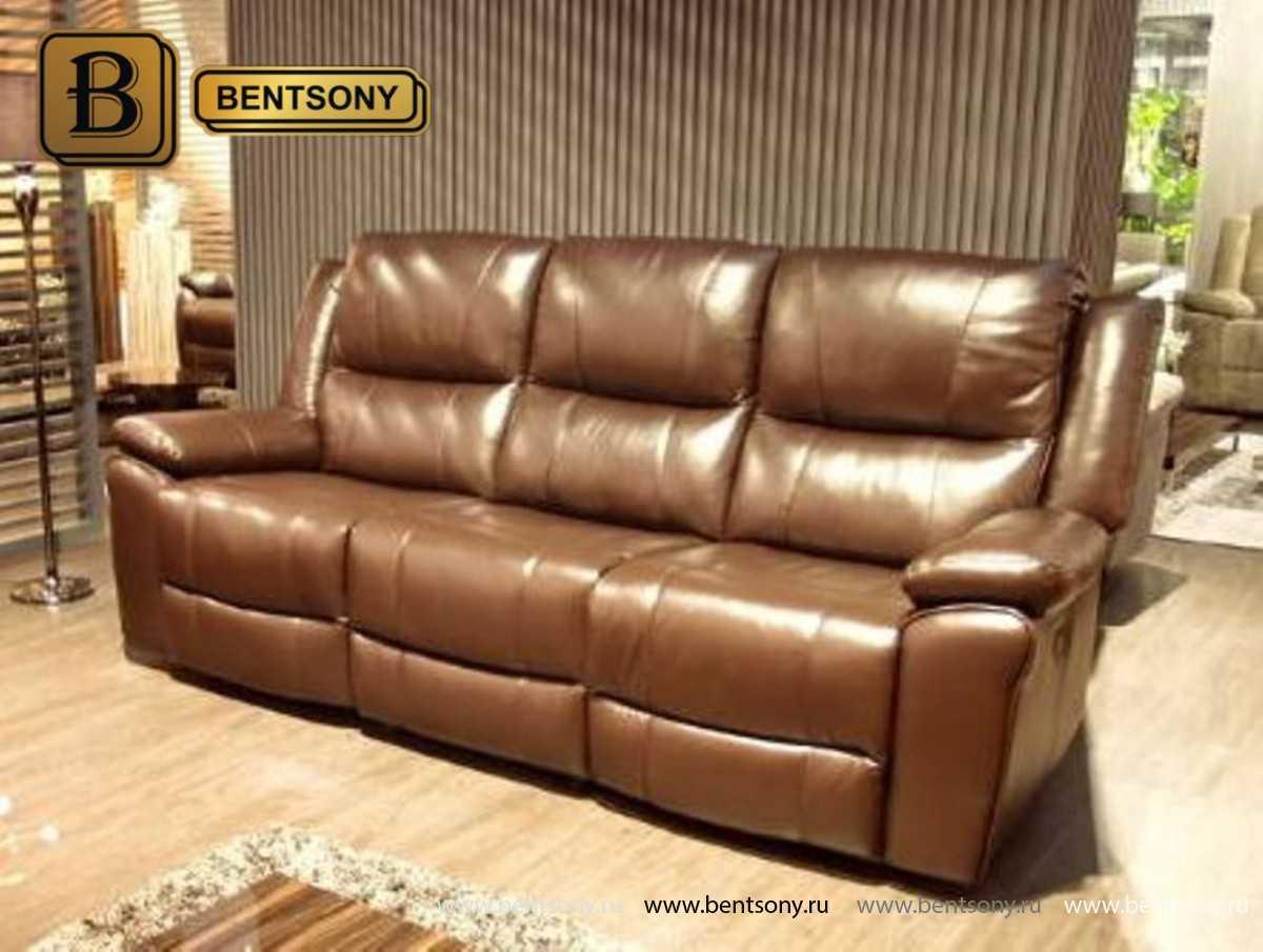 диван из натуральной кожи светло-коричневый Шарм