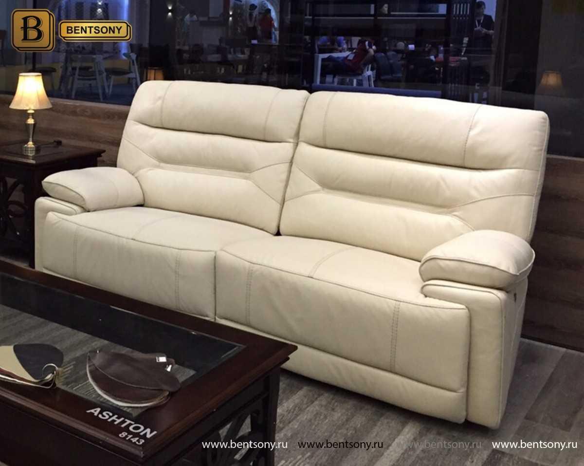 прямой белый диван с реклайнерами Эштон