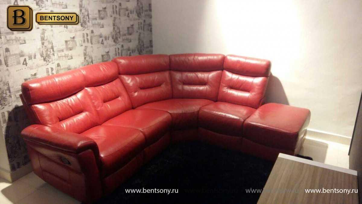 современный красный диван Ментон кожа
