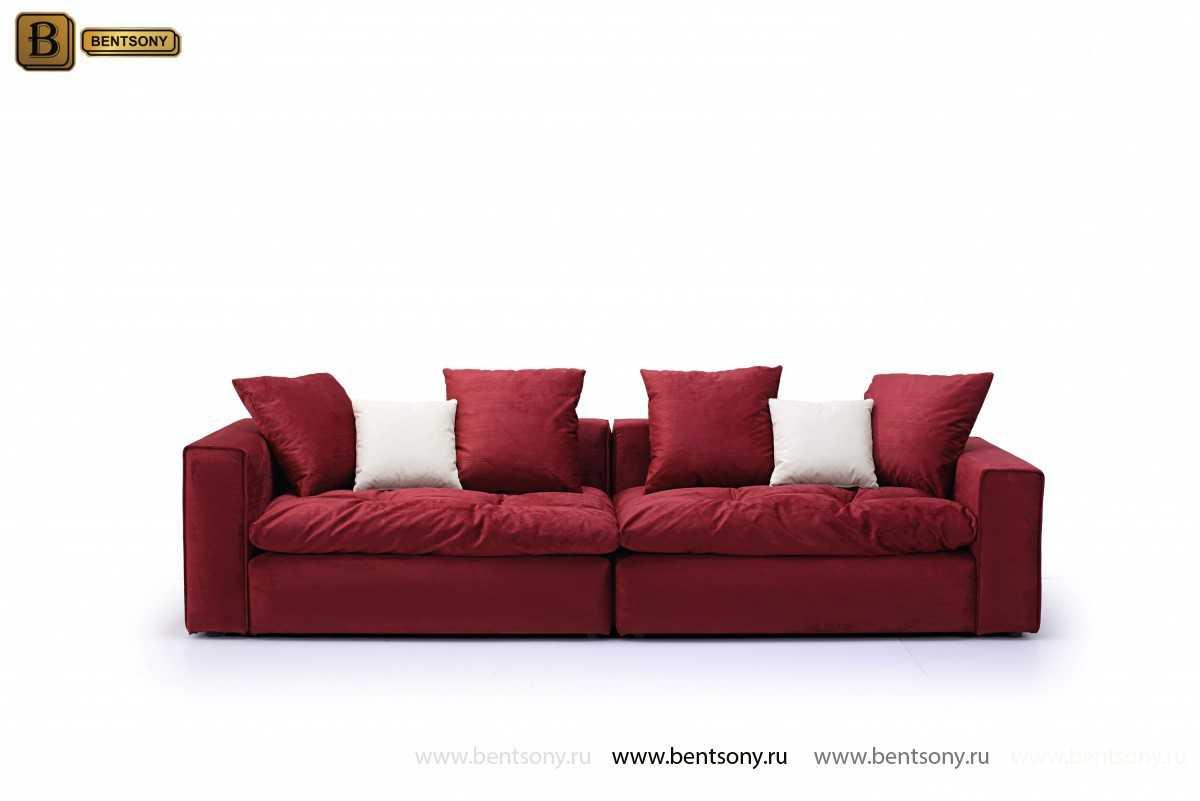 Прямой красный диван Бениамино с подушками