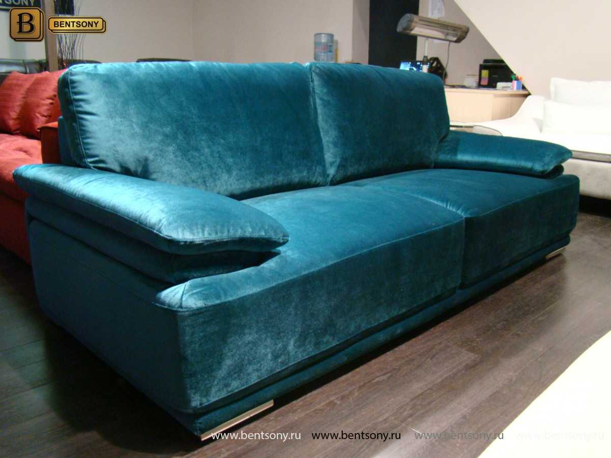 прямой синий велюровый диван Дельфико