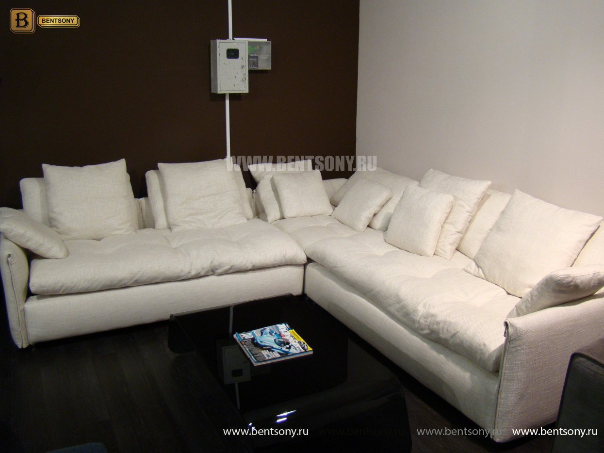 угловой диван Арлетто в светлой рогожке