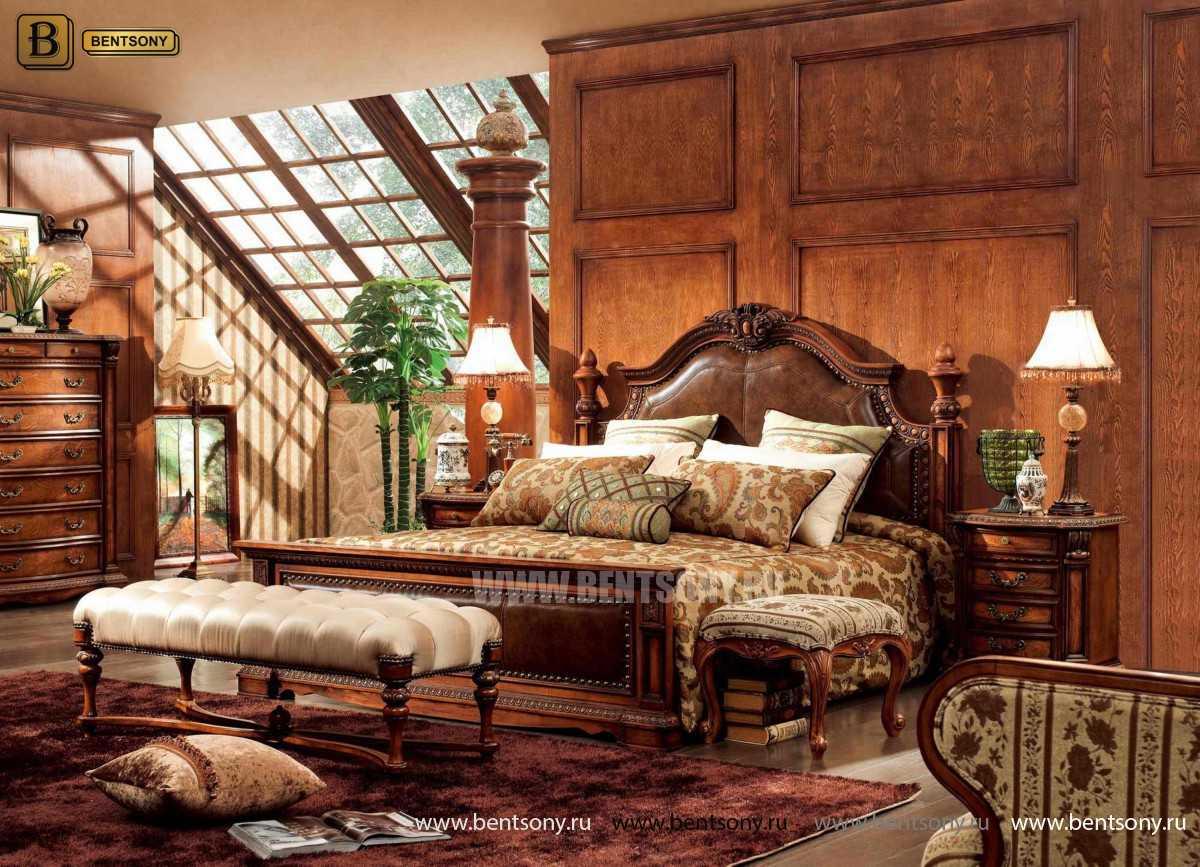 Кровать Монтана B (Классика, массив дерева, кожа) каталог