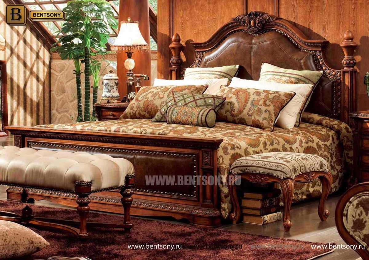 Кровать Монтана B (Классика, массив дерева, кожа) цена