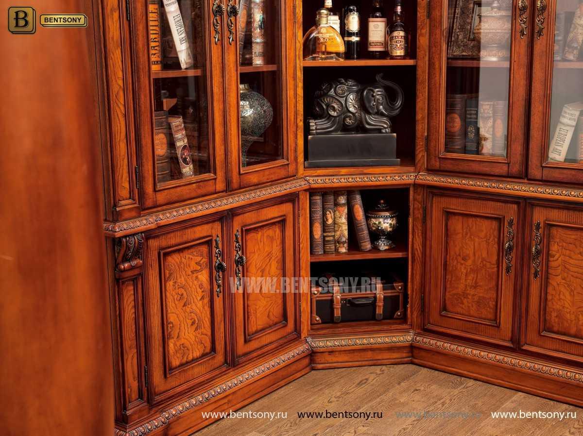 Шкаф Книжный Монтана (Угловой, массив дерева) для загородного дома