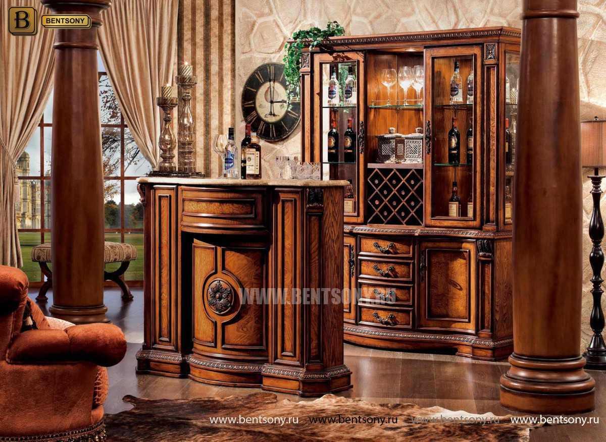 Барный шкаф 3-х дверный Монтана (Классика, массив дерева) официальный сайт цены