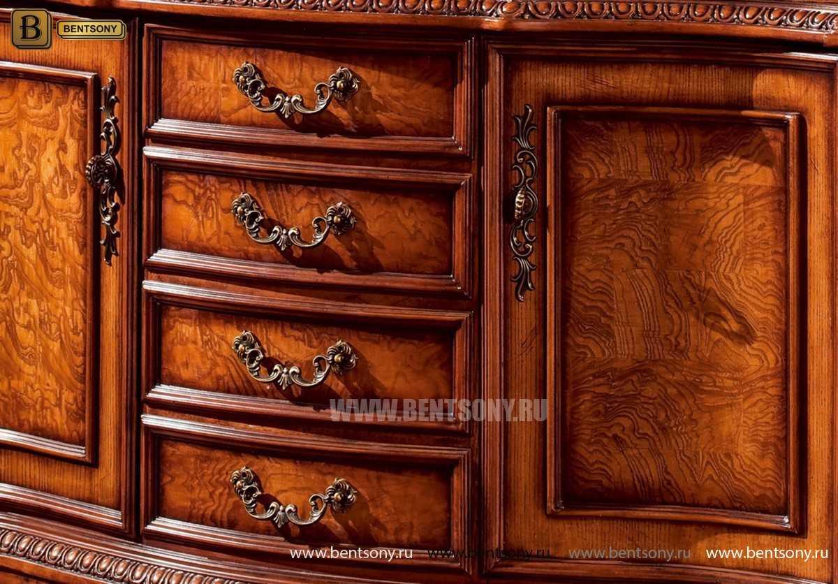 Барный шкаф 3-х дверный Монтана (Классика, массив дерева) фото