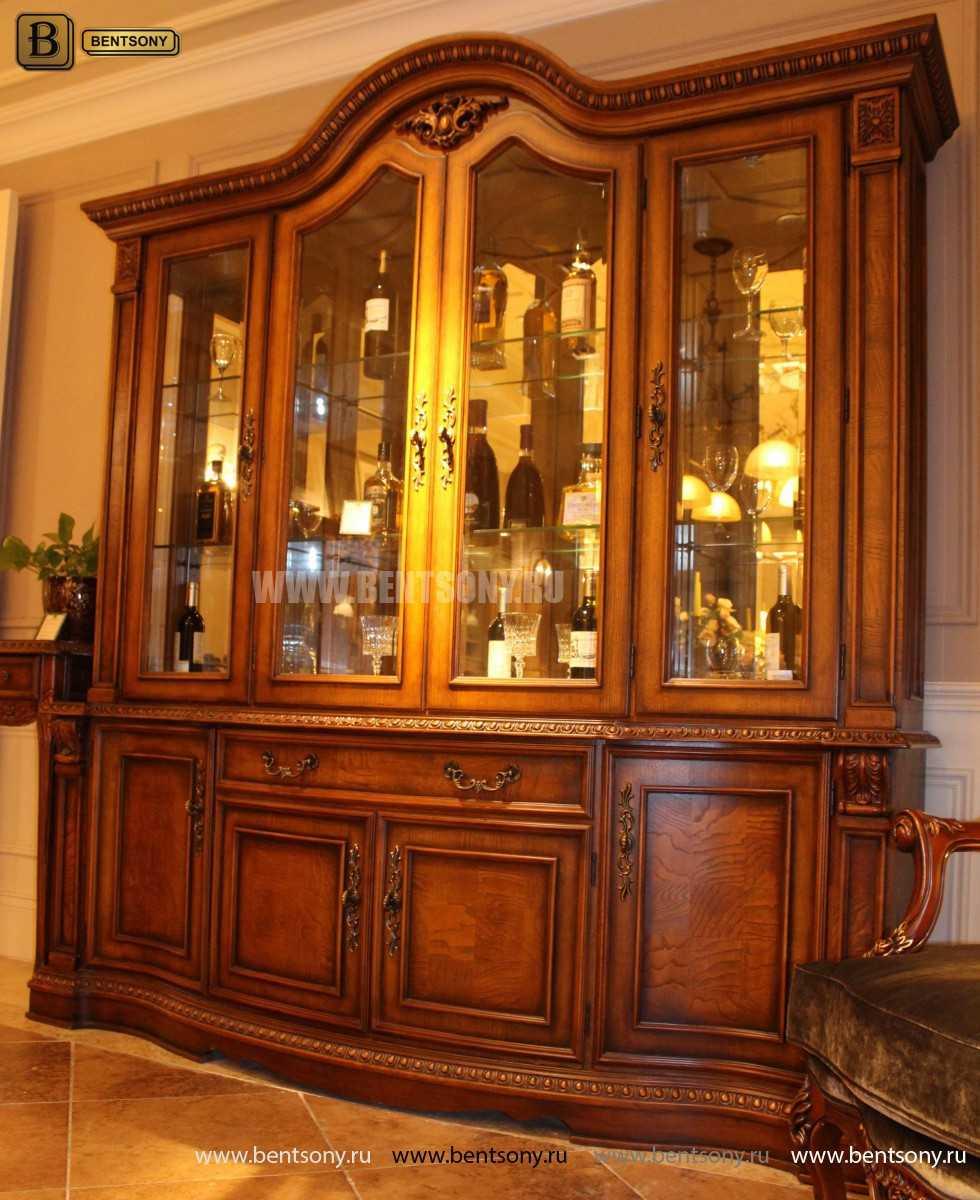 Витрина 4-х дверная Монтана (Массив дерева, классика) купить в Москве