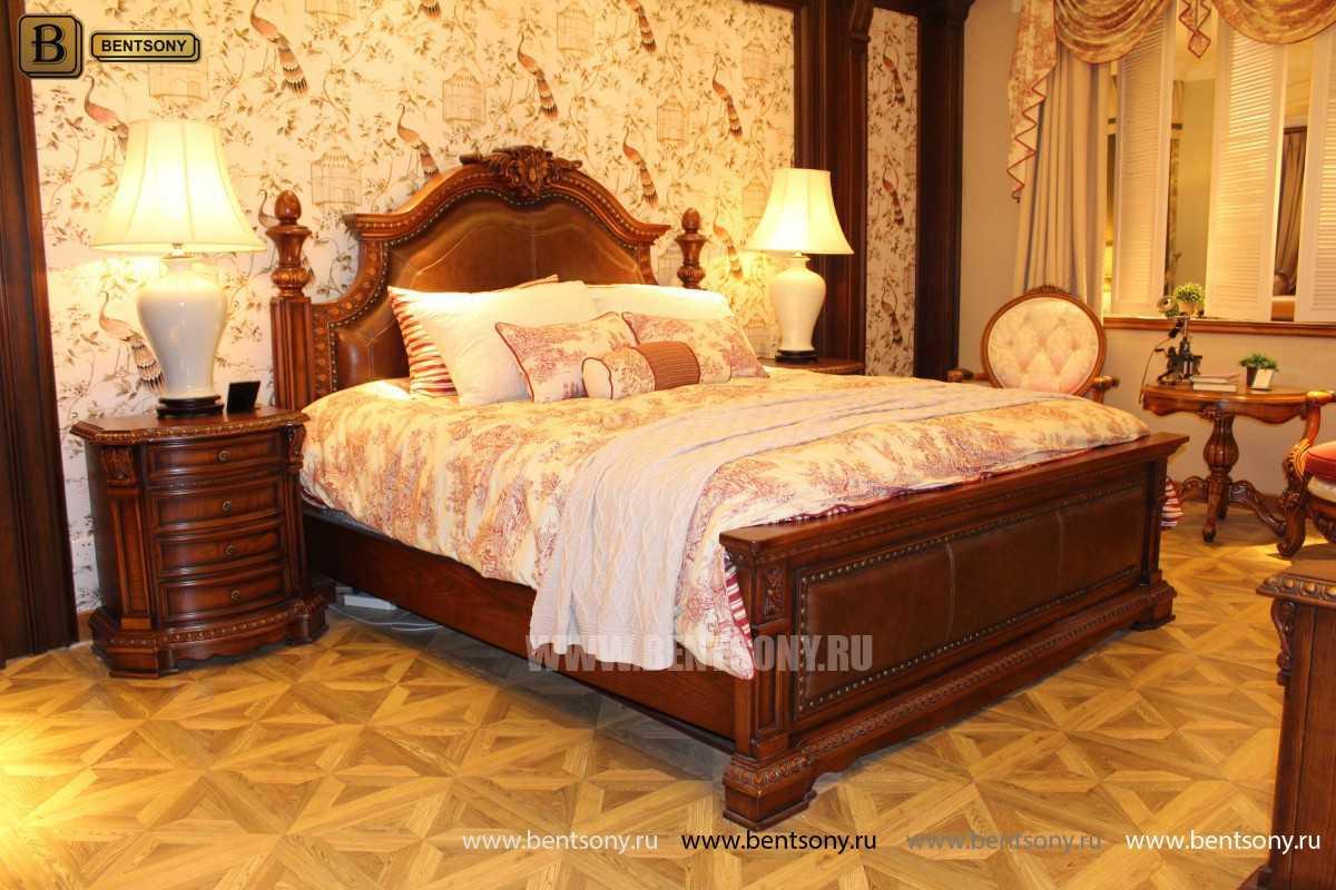 Кровать Монтана B (Классика, массив дерева, кожа) каталог мебели