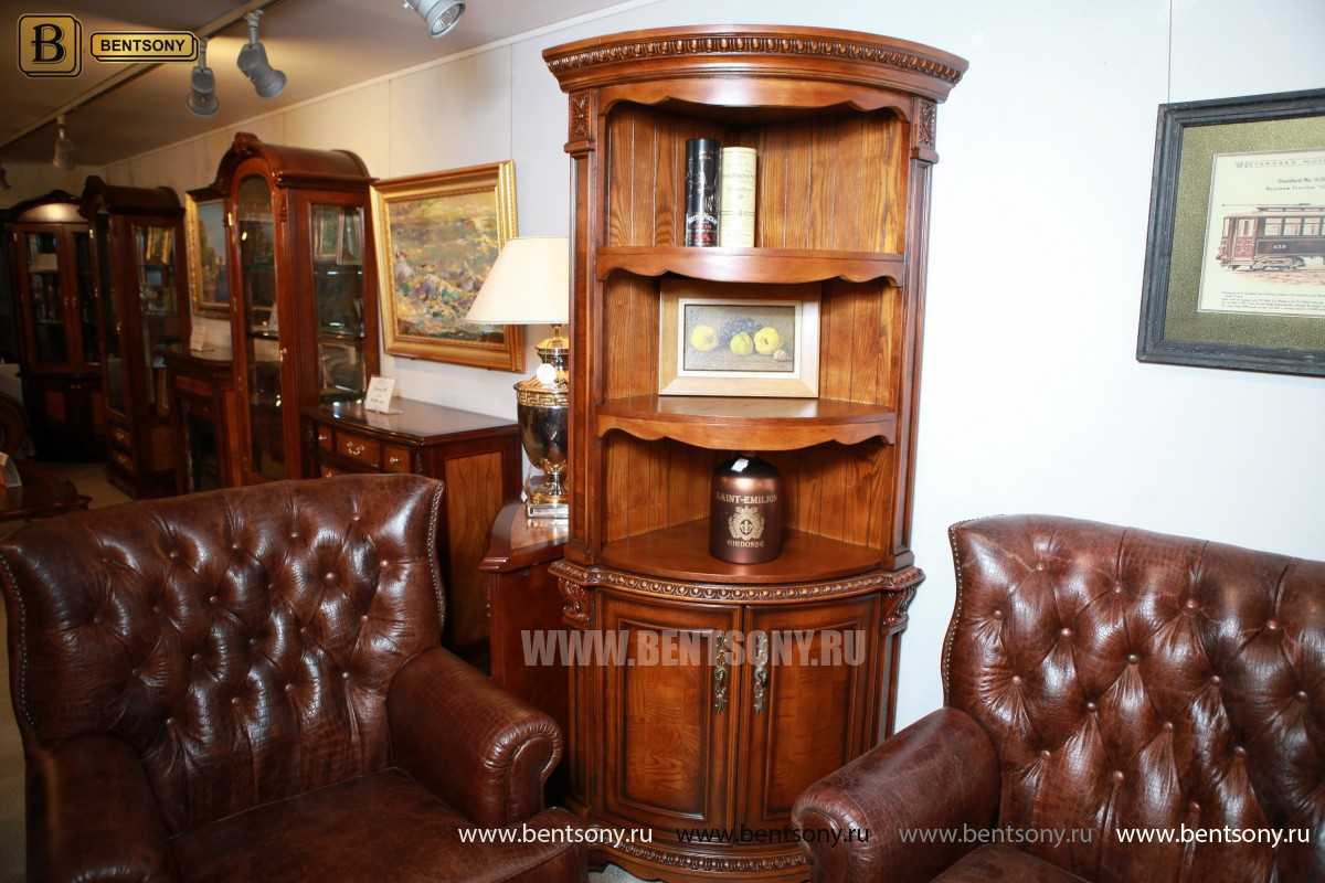 Витрина угловая Монтана (Классика, массив дерева) каталог мебели с ценами