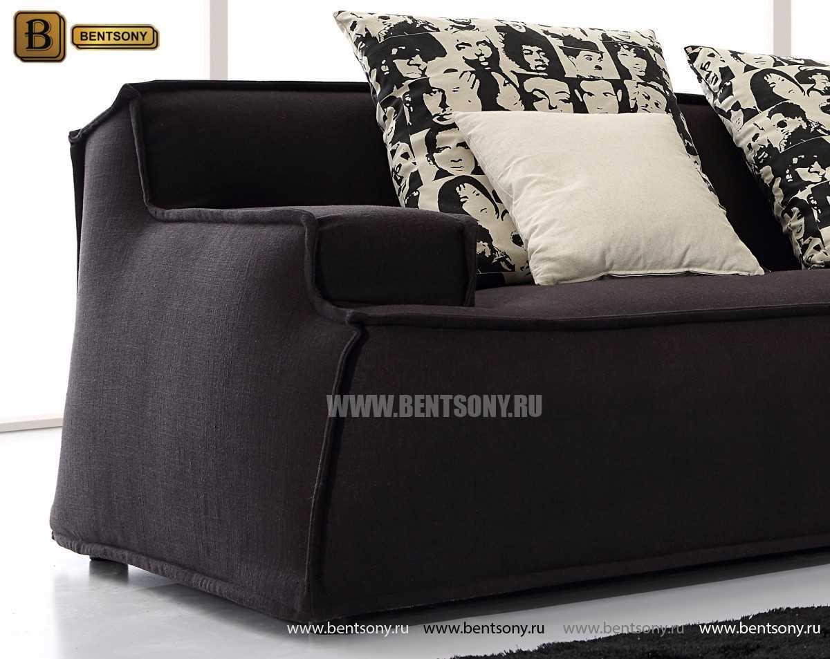 черный прямой тканевый диван Галардо