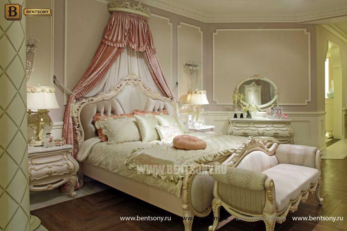 Кровать Амадео В  (Классика, Белый цвет с патиной)