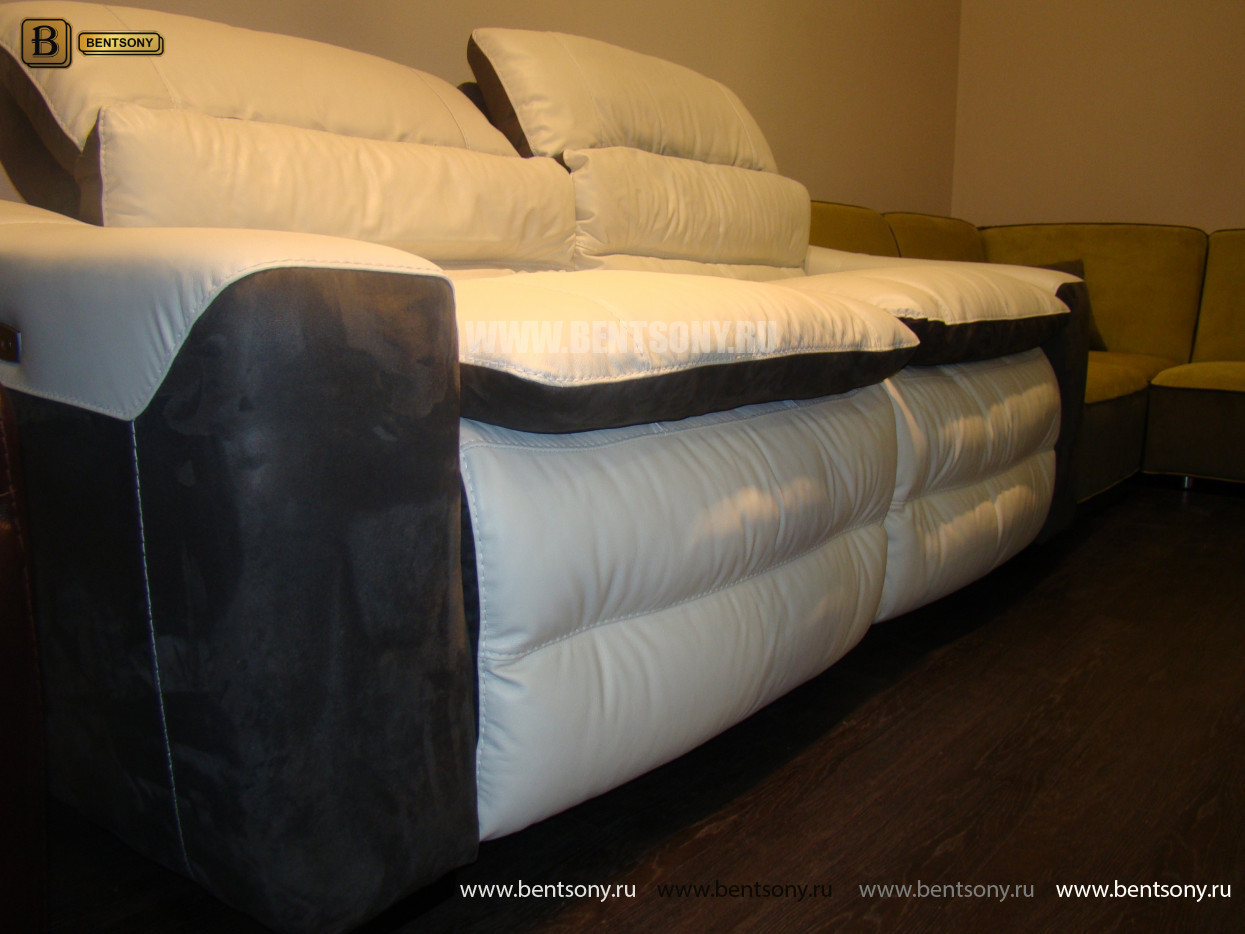 домашний диван реклайнером белый