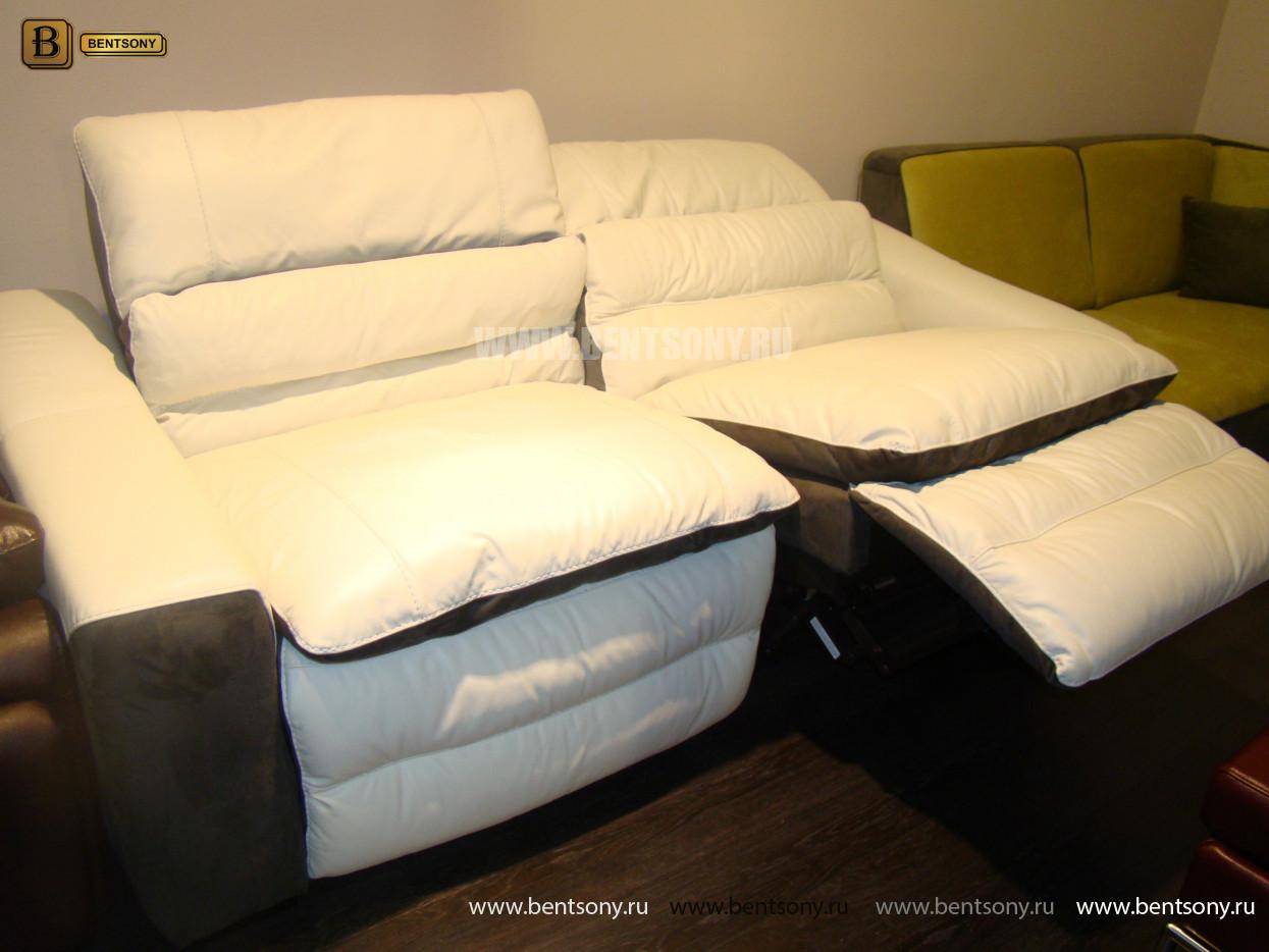 диван реклайнер с электроприводом белый