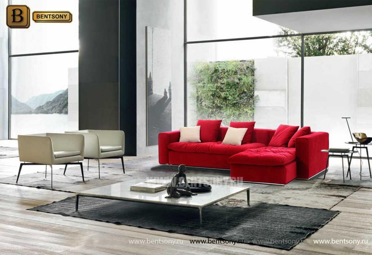 Красный диван Бениамино с подушками и шезлонгом