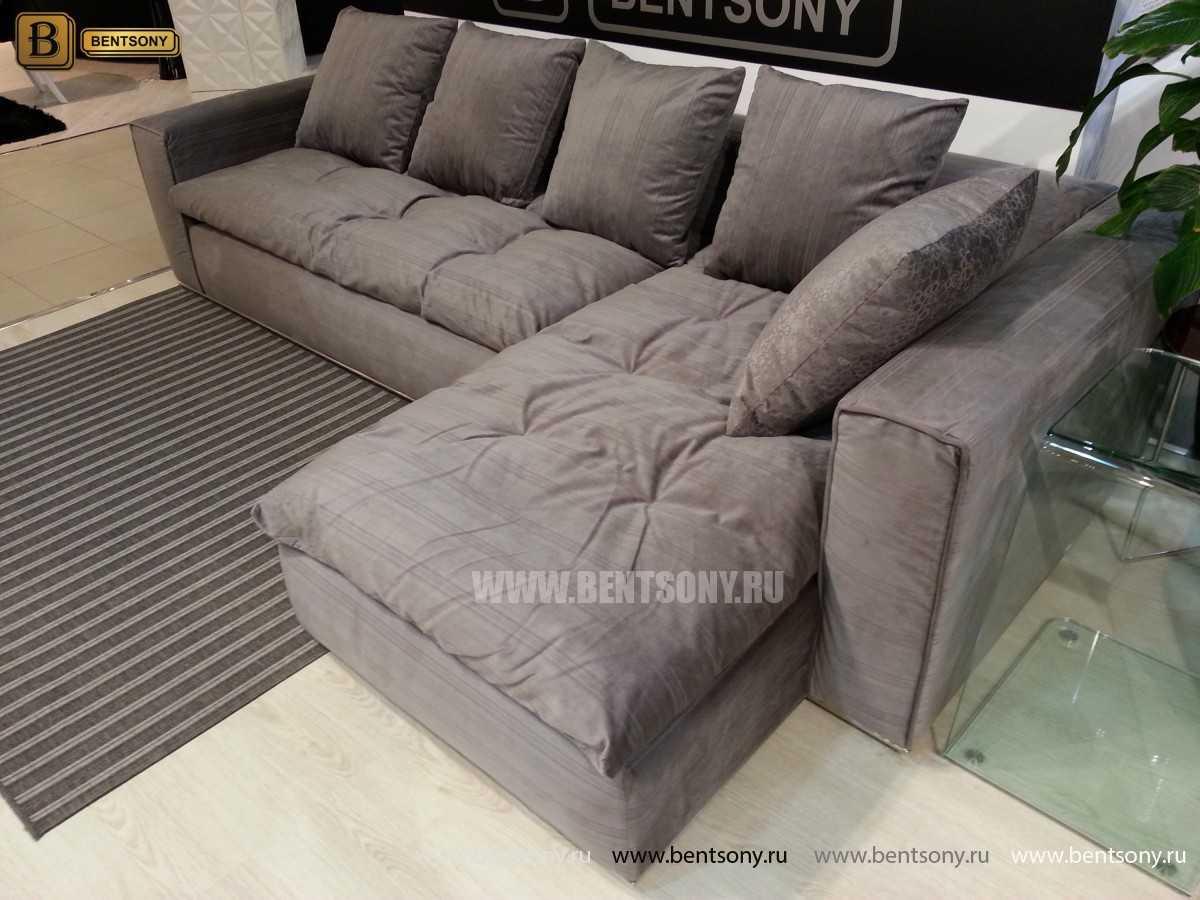 Серый угловой диван Бениамино обивка рогожка
