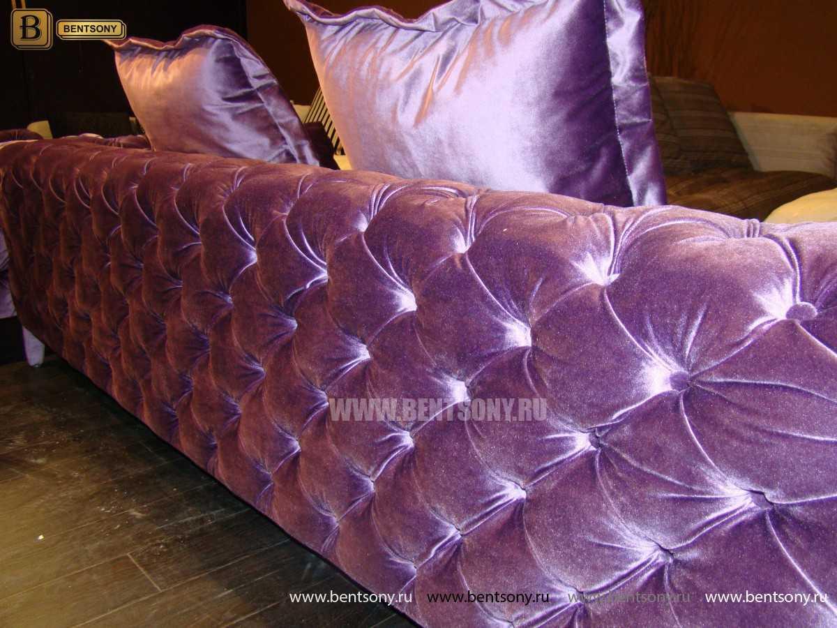 обивка фиолетового дивана капитоне