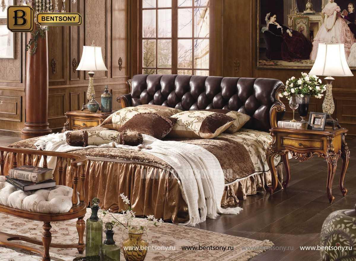 Кровать Дакота-F (Натуральная кожа, массив дерева) в Москве