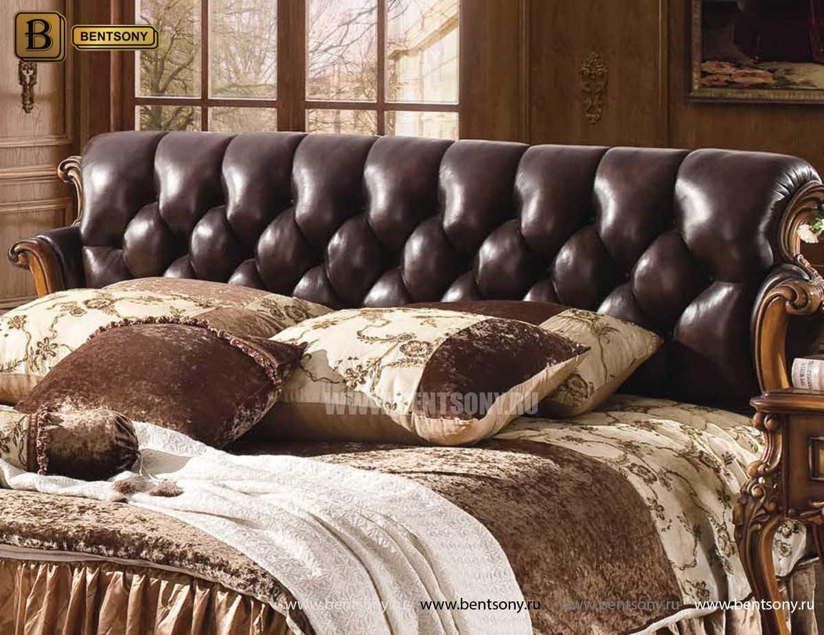 Кровать Дакота-F (Натуральная кожа, массив дерева)