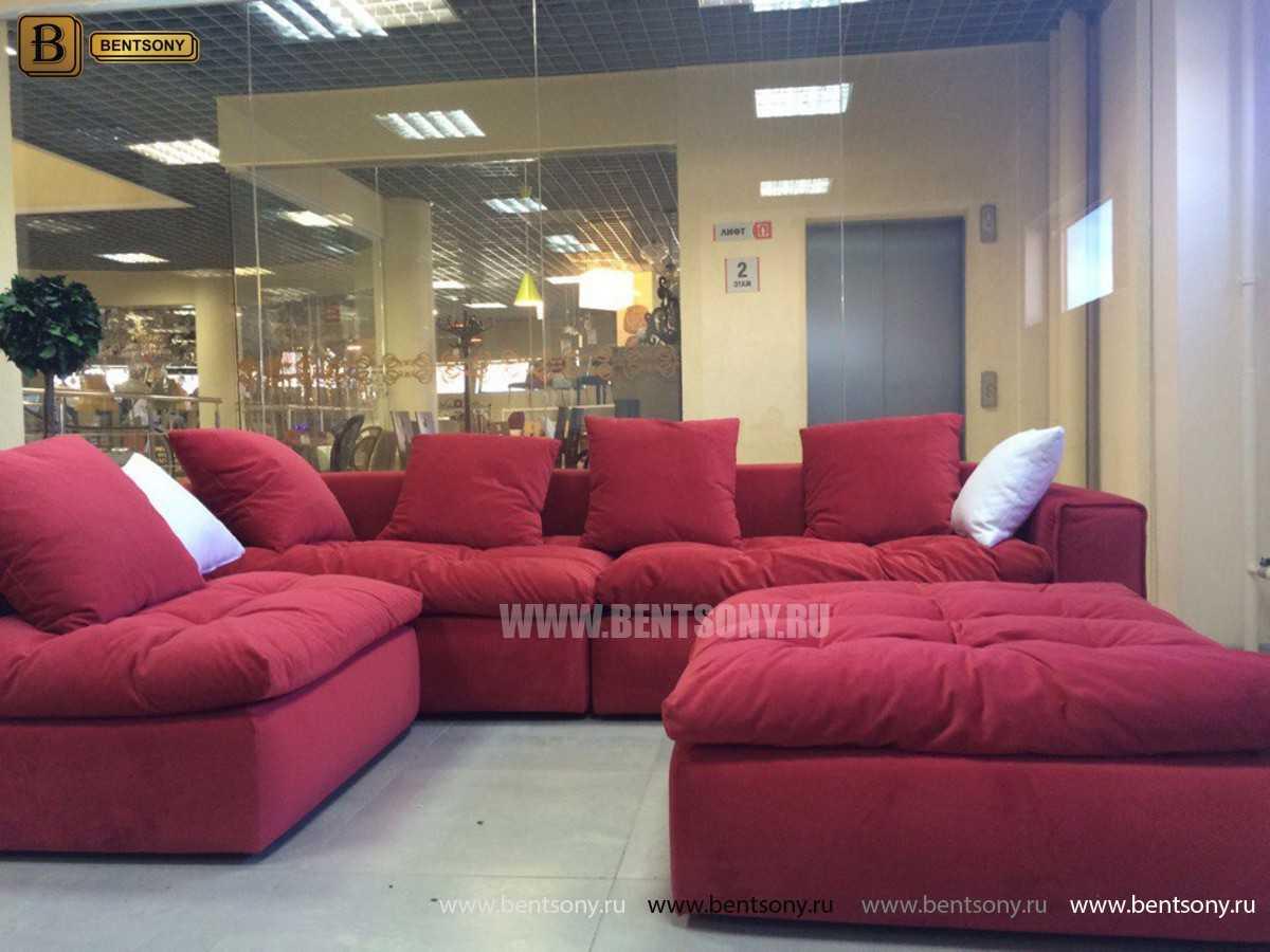 Красный велюр диван Бениамино