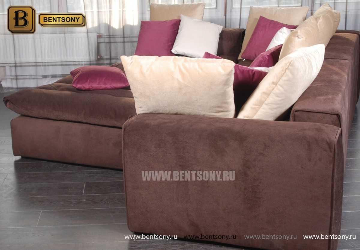 Коричневый велюр диван Бениамино