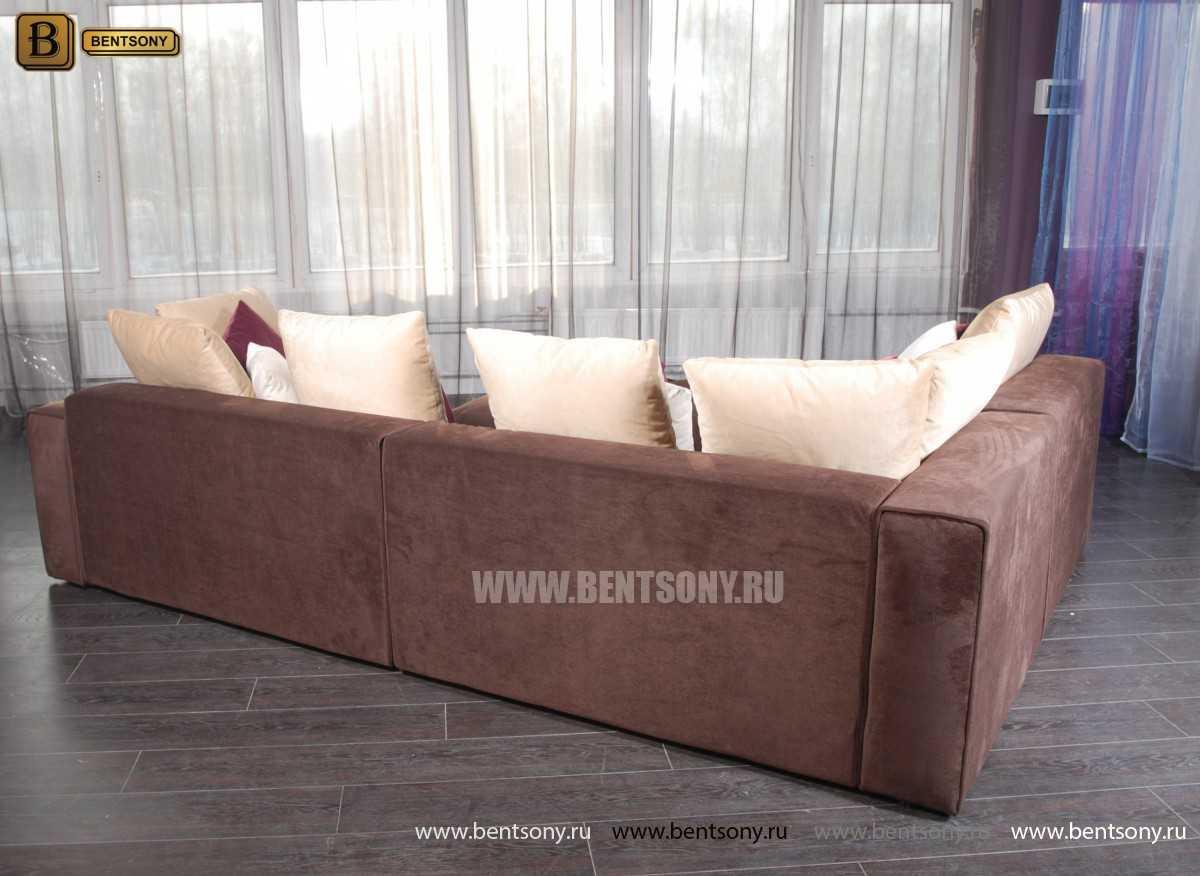 П-образный Коричневый велюр диван Бениамино