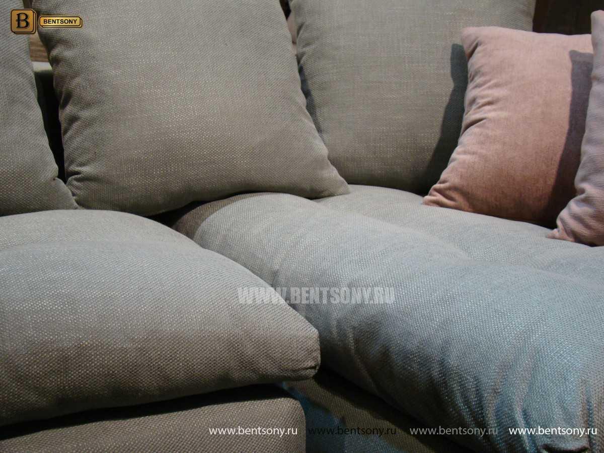 Диван модульнный с серыми и розовыми подушками