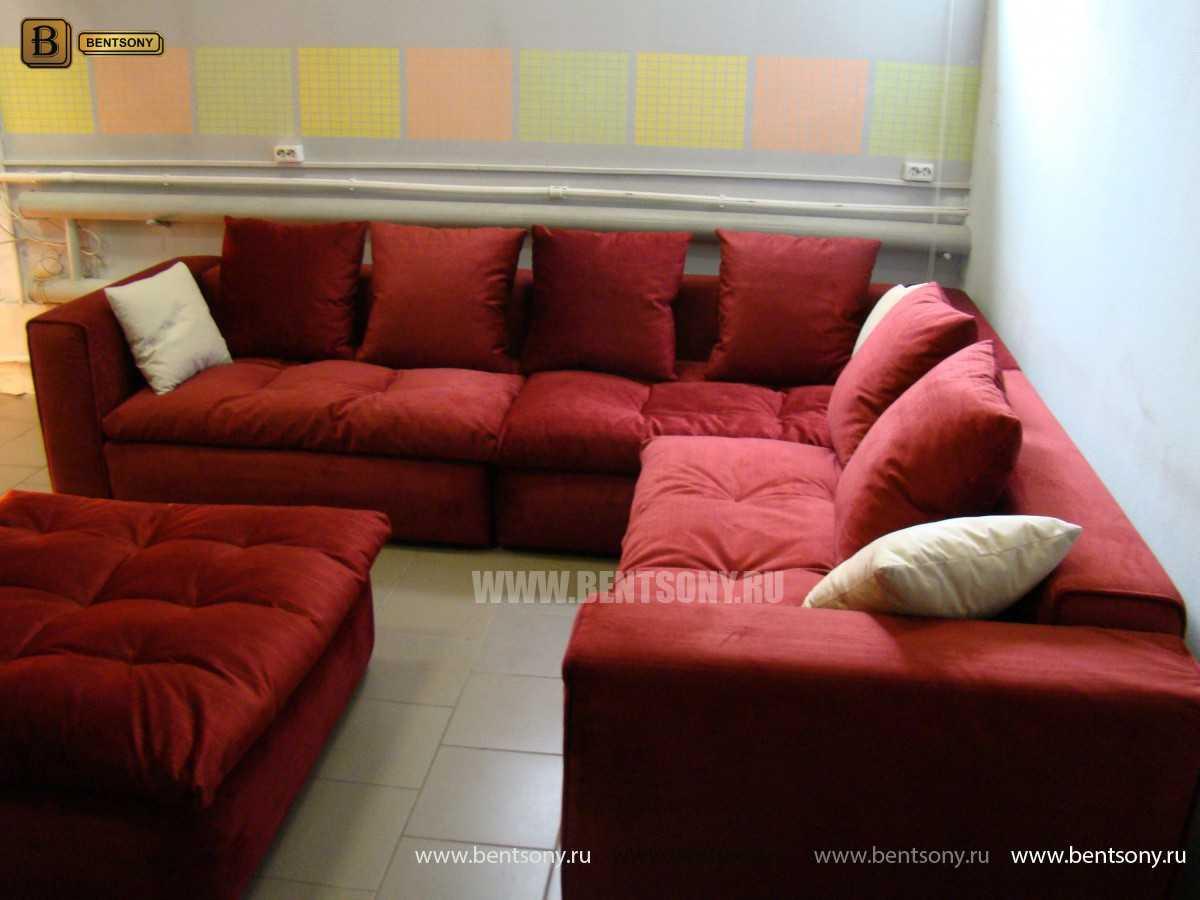 Красный угловой диван Бениамино