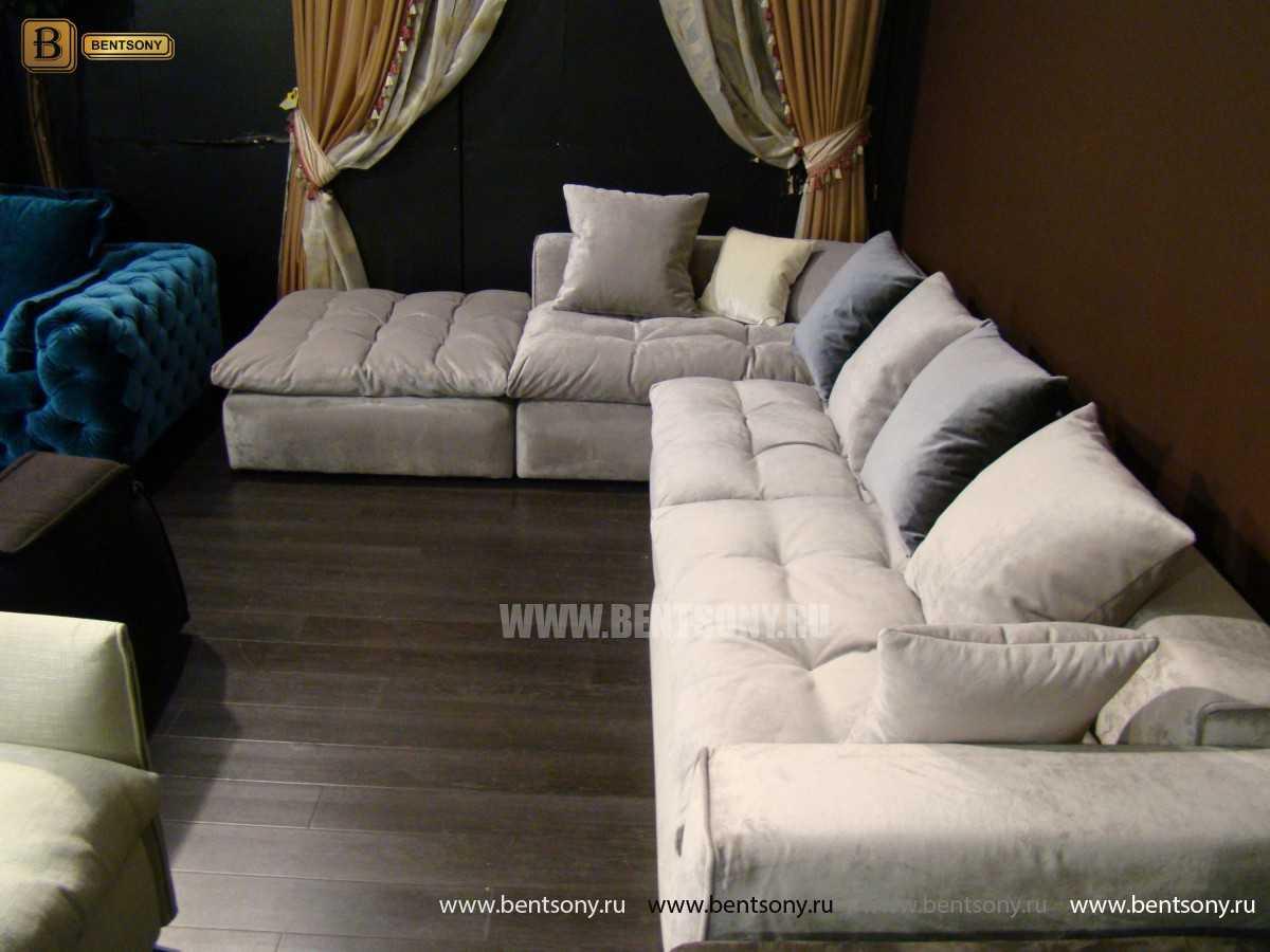 Серый модульный диван Бениамино с пуфом