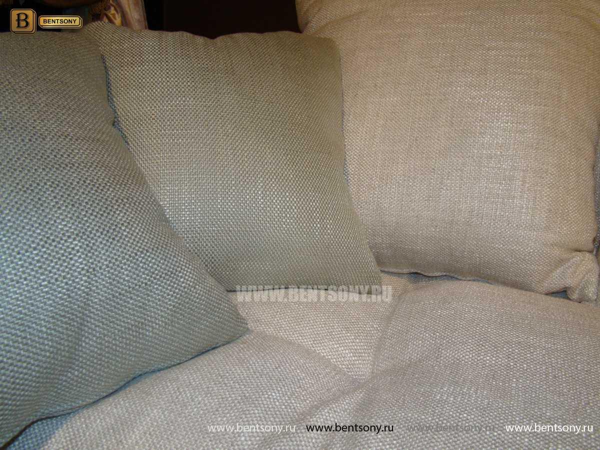 диван Бениамино подушки белая и бежевая рогожка