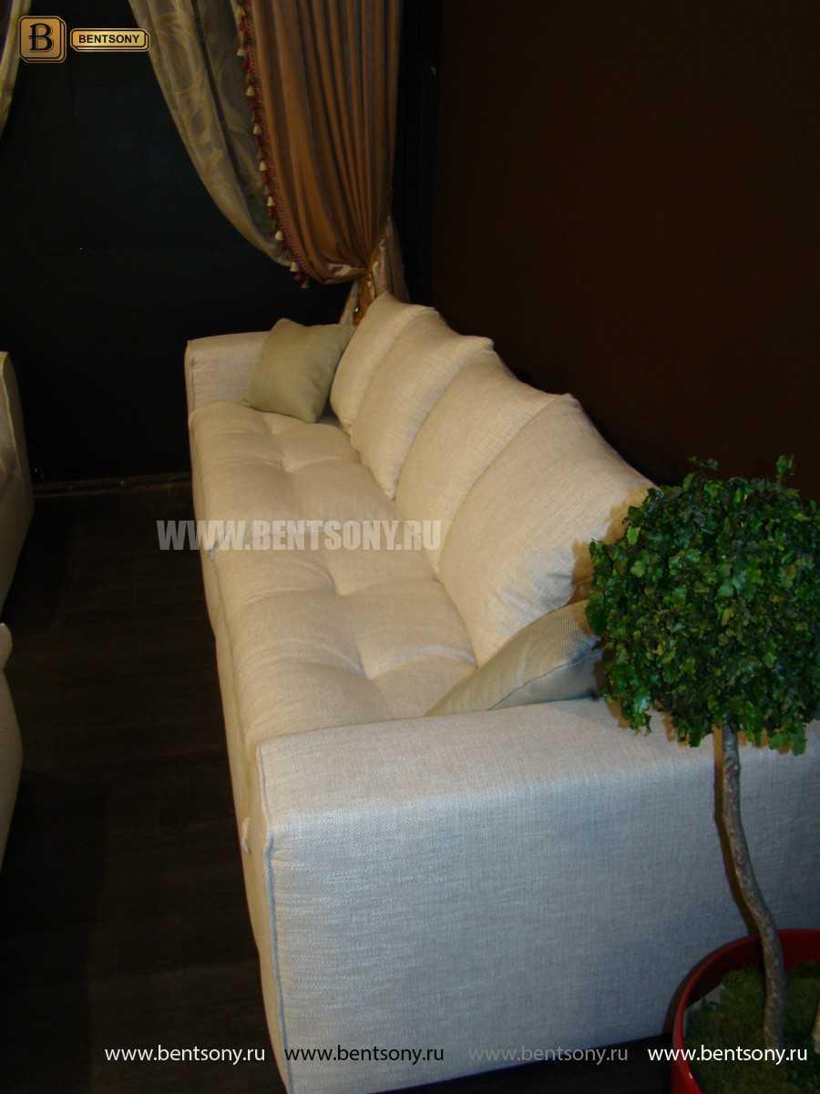 Диван Бениамино белая рогожка с подушками