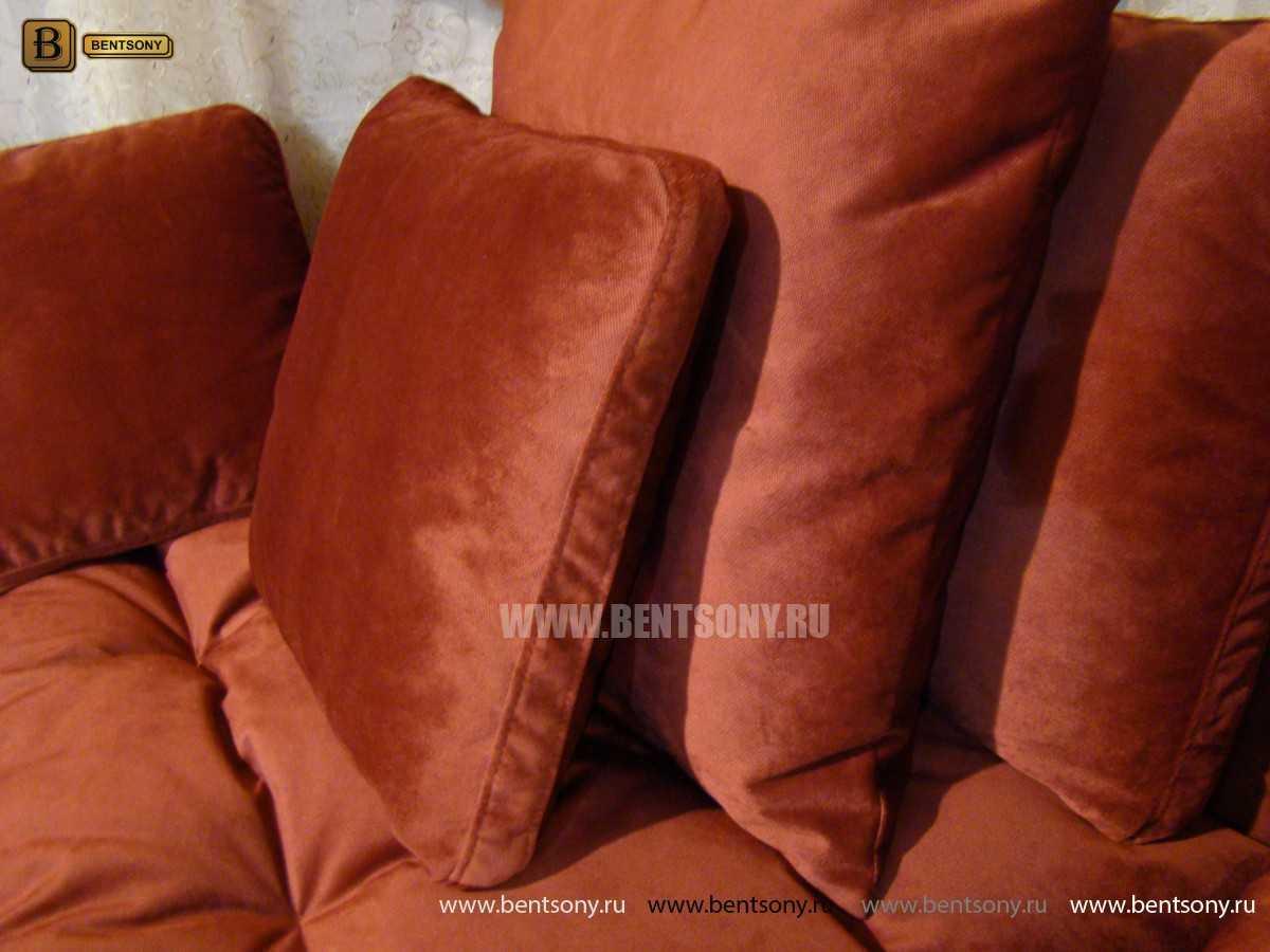 диван Арлетто с подушками велюр красный
