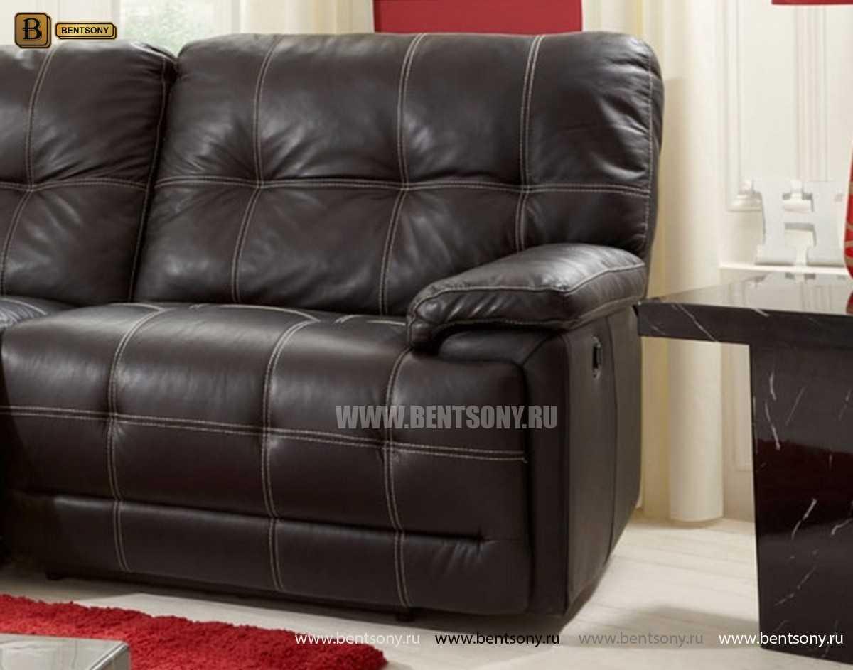 Черный кожаный диван Лексус