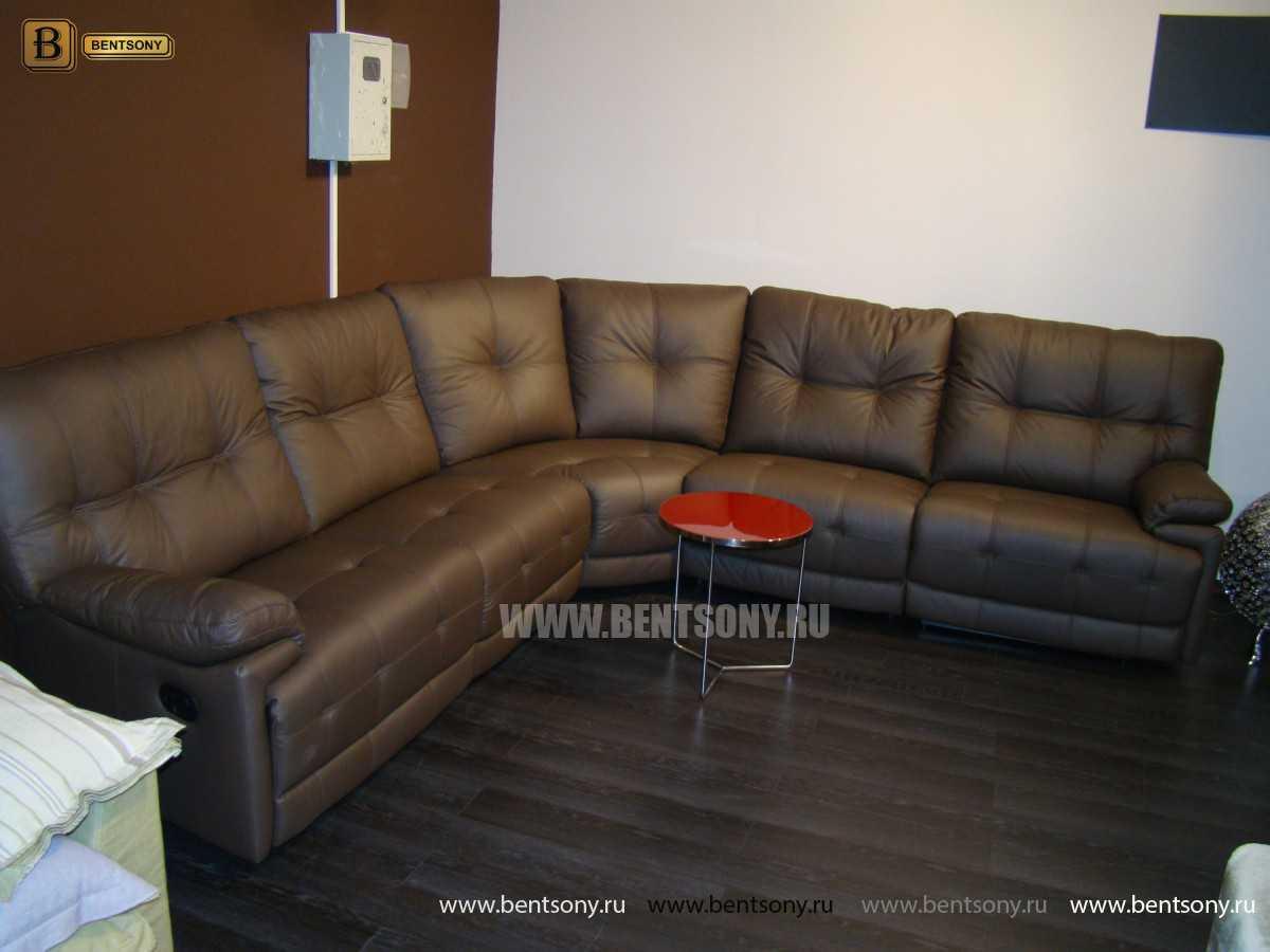 Коричневый кожаный диван Лексус